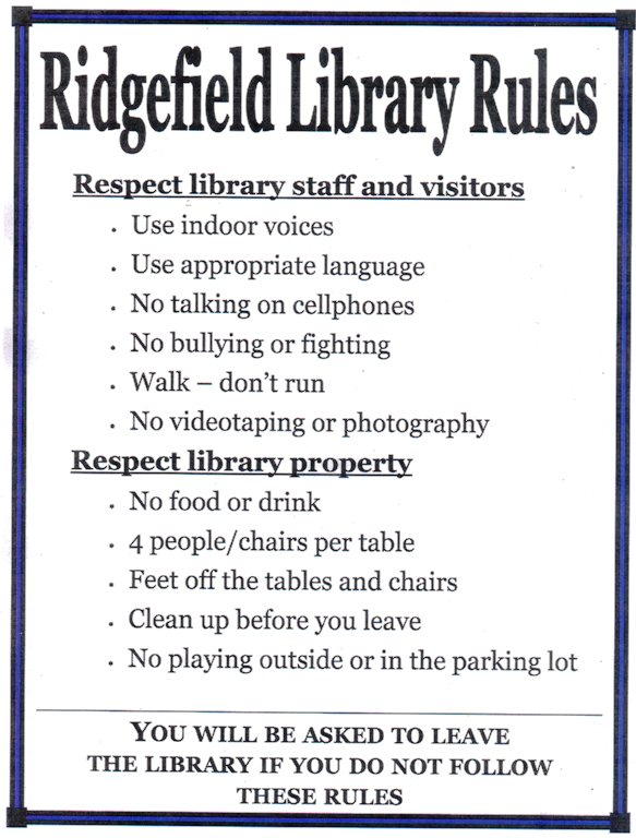 Library Rules - Ridgefield Public Library